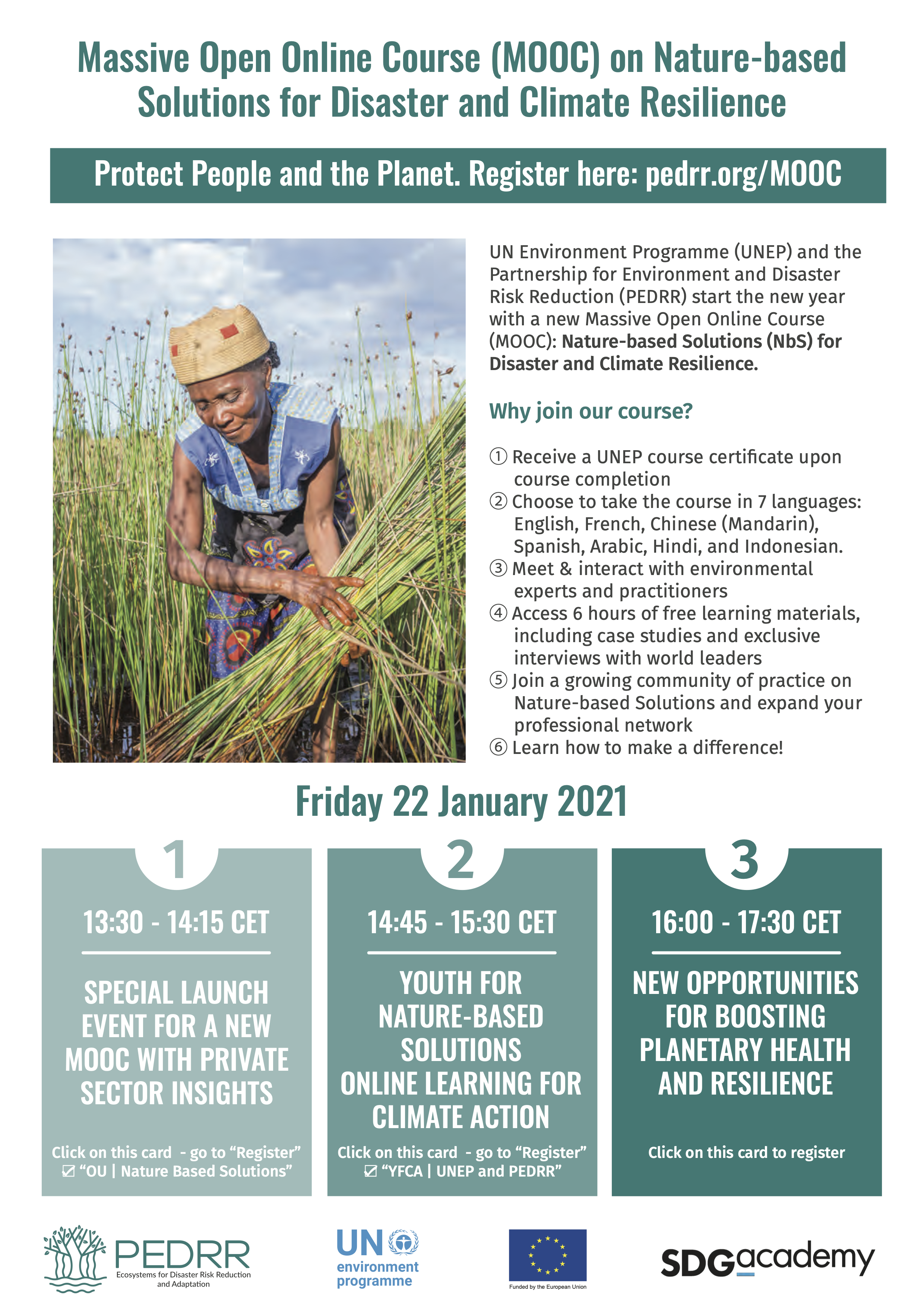 Launch of a new MOOC on Nature-based solutions for disaster and climate resilience on Friday 22 January